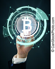 Cryptocurrency concept - Male hand pressing abstract digital...