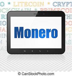 cryptocurrency, concept:, tabletta, számítógép, noha,...