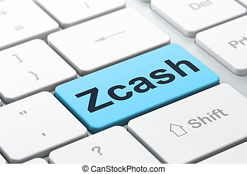 Cryptocurrency concept: Zcash on computer keyboard background