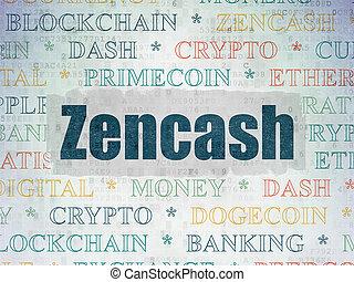 cryptocurrency, concept:, zencash, képben látható,...