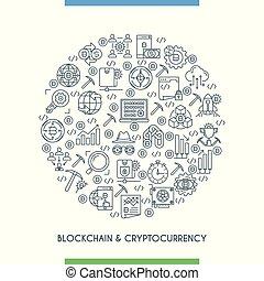 cryptocurrency, concepte, linha, desenho, magra
