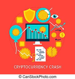 Cryptocurrency Crash Flat Concept