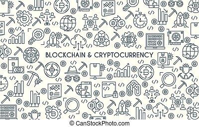 cryptocurrency, desenho, linha, bandeira, magra