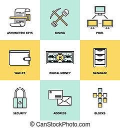 cryptocurrency, digitale, set, soldi, icone, appartamento