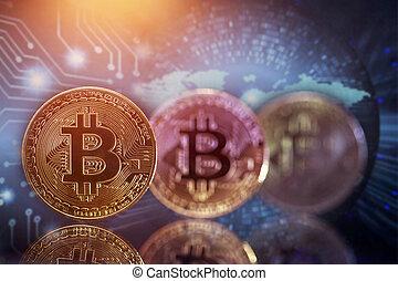 cryptocurrency, doré, bitcoin