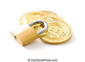 cryptocurrency, dorato, padlock., bitcoin.