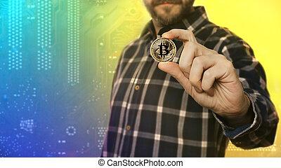 cryptocurrency, dourado, bitcoin, coin., homem, contendo mão, símbolo, de, crypto, moeda corrente, -, eletrônico, dinheiro virtual, para, teia, operação bancária, e, internacional, rede, pagamento, foco seletivo, toned