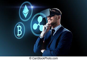 cryptocurrency, e, homem negócios, em, virtual, headset
