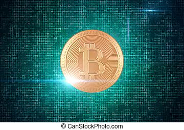 cryptocurrency, e, operação bancária, conceito