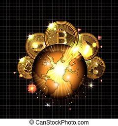 cryptocurrency, en, el, planeta, iconos