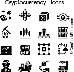 cryptocurrency, ensemble, icônes