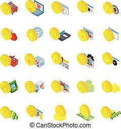 cryptocurrency, ensemble, isométrique, style, icônes