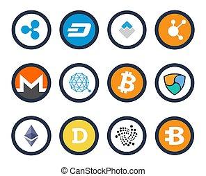 cryptocurrency, ensemble, vecteur, illustration, icônes