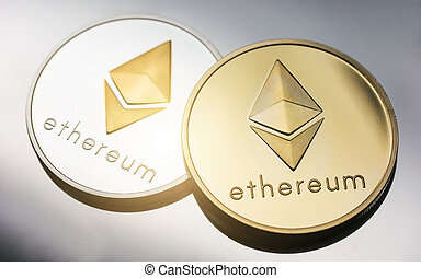 Cryptocurrency Ethereum - Closeup of a two Ethereum coins ...