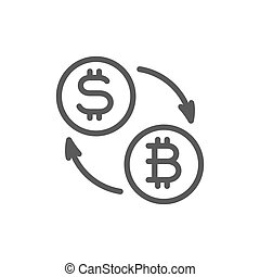 Cryptocurrency exchange, bitcoin coin with dollar sign line icon.