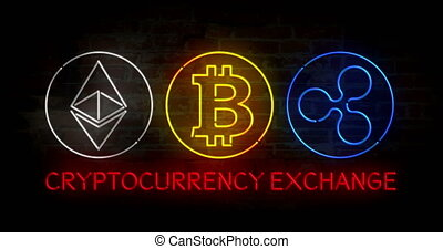 Cryptocurrency exchange. Bitcoin, ethereum and ripple neon...