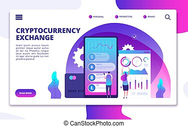 Cryptocurrency exchange landing page. Online crypto payment....