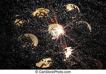 cryptocurrency, exploitation minière, concept, bitcoin