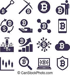 cryptocurrency, exploitation minière, vecteur, icons., illustrations.