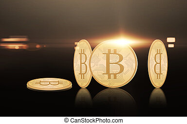 gold bitcoins over black background