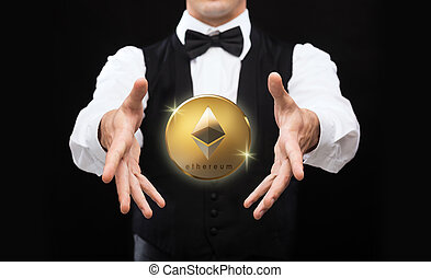 close up of magician with ethereum coin