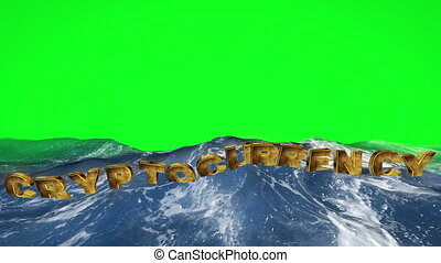 Cryptocurrency  floating in the water against green screen