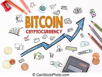 cryptocurrency, foglio, concept., bitcoin, diagramma, carta