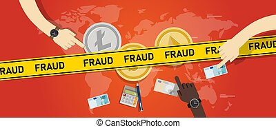 Cryptocurrency fraud investment scam. Crypto digital money transaction with safety risk vector