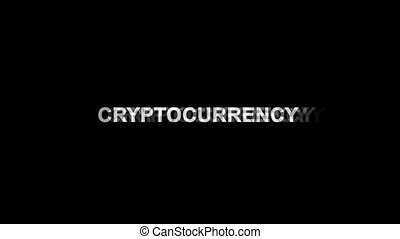 Cryptocurrency Glitch Effect Text Digital TV Distortion 4K...