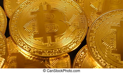 Cryptocurrency Gold Bitcoin. Bitcoin Mining Concept