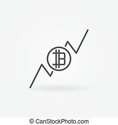Cryptocurrency growing graph icon - Cryptocurrency growing...