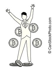 cryptocurrency, homme affaires, blanc, noir
