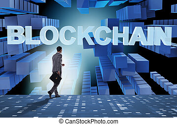 cryptocurrency, homme affaires, concept, blockchain
