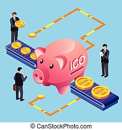 Cryptocurrency ICO token bitcoin exchange vector illustration