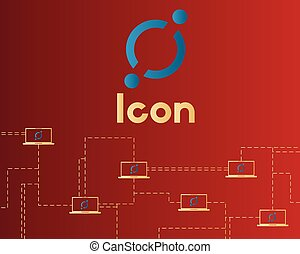 Cryptocurrency icon on red background collection