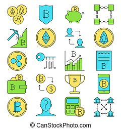 Cryptocurrency icon set in colored line style