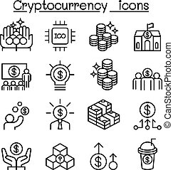 Cryptocurrency icon set in thin line style