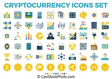 cryptocurrency, iconos, plano, blockchain