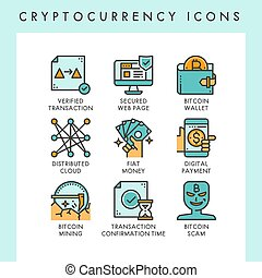 Cryptocurrency icons concept illustrations for web, app,...