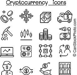 Cryptocurrency icons set in thin line style