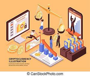 cryptocurrency, isométrique, illustration
