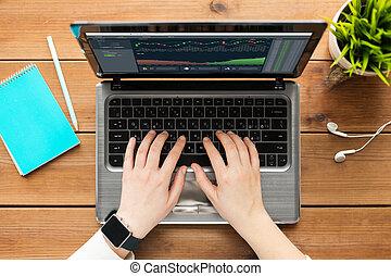 cryptocurrency, laptop, schermo, mani