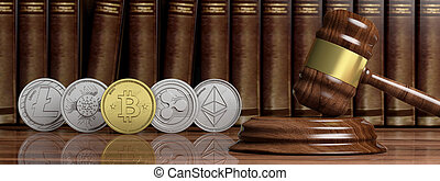 Cryptocurrency law. Gavel and variety of virtual coins on law books background, banner. 3d illustration