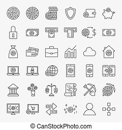 cryptocurrency, ligne, ensemble, icônes