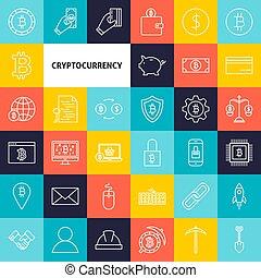 cryptocurrency, ligne, vecteur, icônes