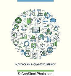 cryptocurrency, linha plana, conceito, desenho