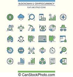 cryptocurrency, linha plana, desenho, ícones