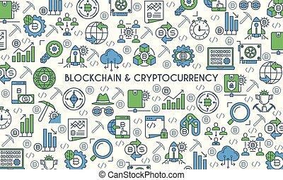 cryptocurrency, linha plana, desenho, bandeira