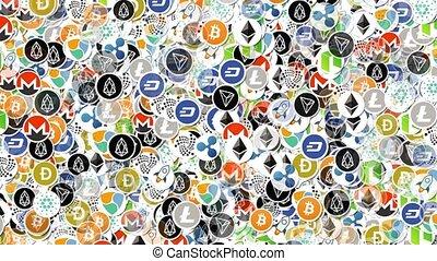 Cryptocurrency Logos Background Loop