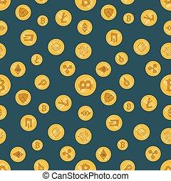 cryptocurrency, mönster, olik, seamless, ikon